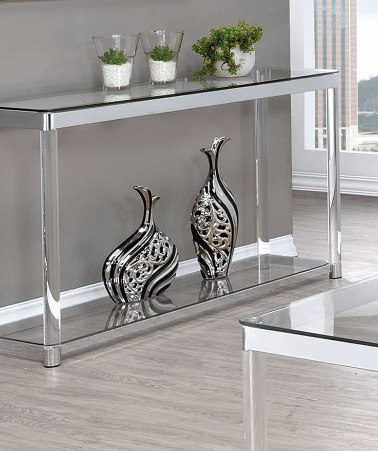 Coaster Coffee Table Chrome Clear Acrylic Glass Table With Regard To Eames Style Dining Tables With Chromed Leg And Tempered Glass Top (View 16 of 25)