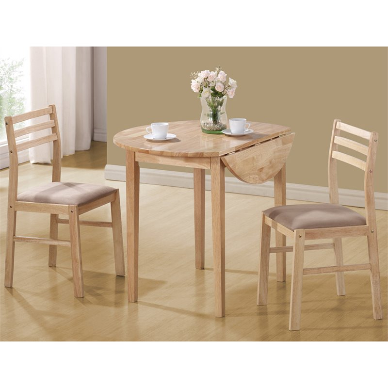 Coaster Company 3 Piece Breakfast Table Set, Natural Inside Transitional 3 Piece Drop Leaf Casual Dining Tables Set (View 9 of 25)