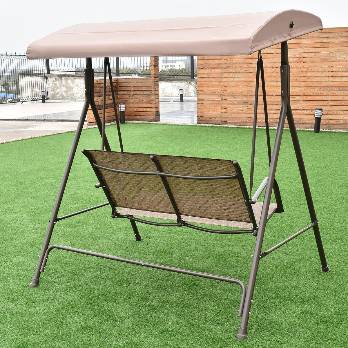 Colibroxoutdoor 2 Person Patio Backyard Porch Swing Hammock With 2 Person Adjustable Tilt Canopy Patio Loveseat Porch Swings (Image 10 of 25)