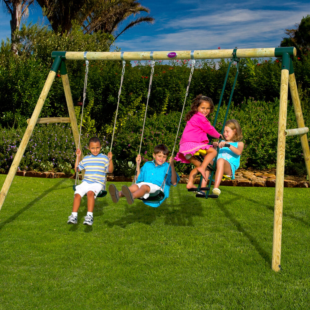 Colobus Wooden Pole Swing Set With Free Protektamats – Pack Of 2 Throughout Dual Rider Glider Swings With Soft Touch Rope (View 6 of 25)