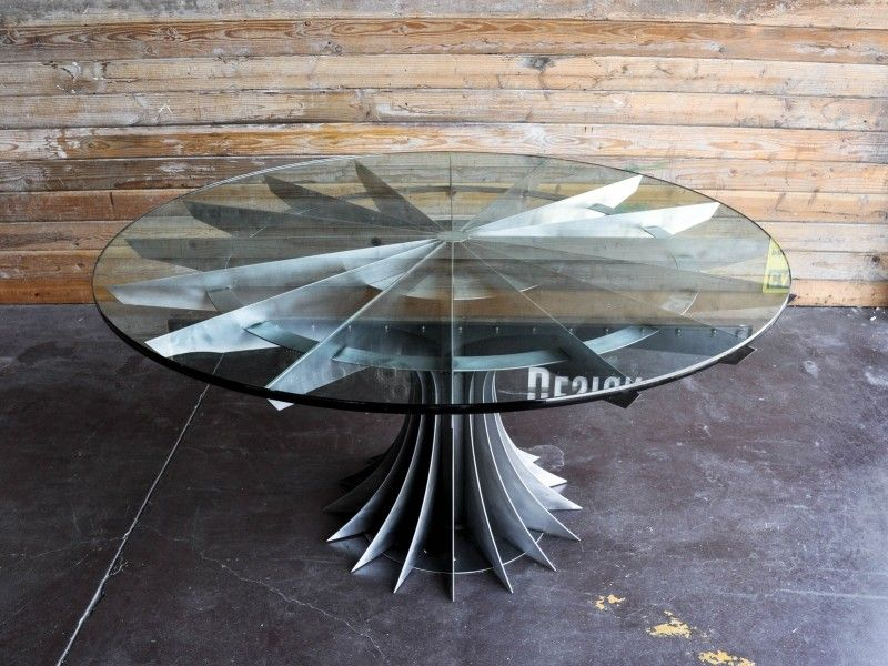 Compressor Table | Vintage Industrial Furniture, Industrial Within Retro Round Glasstop Dining Tables (Image 4 of 25)