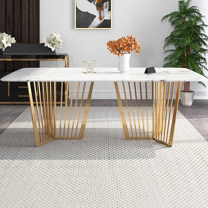 "Contemporary 63"" Rectangular Faux Marble Dining Table Gold Base Stainless  Steel In Dining Tables With Brushed Gold Stainless Finish (Image 13 of 25)"