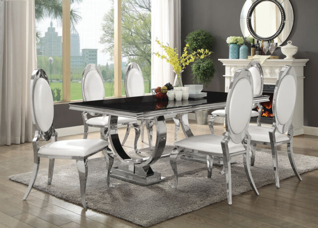 Featured Image of Chrome Dining Tables With Tempered Glass