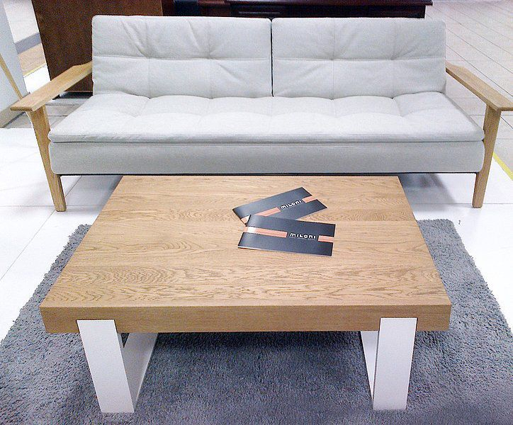 Contemporary Coffee Table / Natural Oak / Aluminum / Brushed Regarding Dining Tables With Brushed Stainless Steel Frame (View 15 of 25)