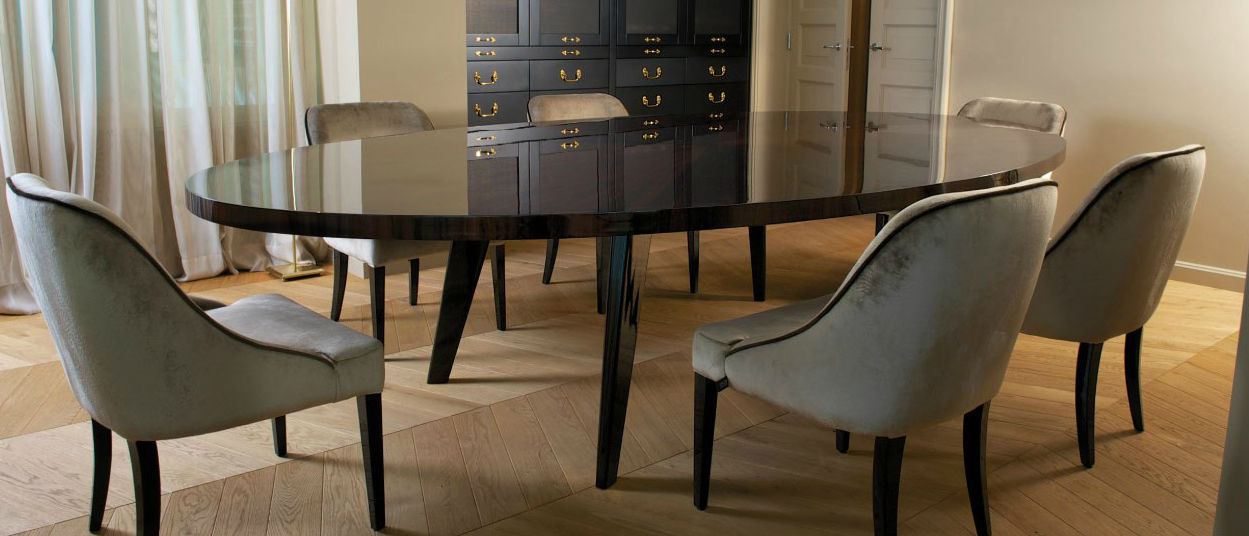 Contemporary Dining Table / Ebony / Round – Harry Intended For Dom Round Dining Tables (Image 4 of 25)