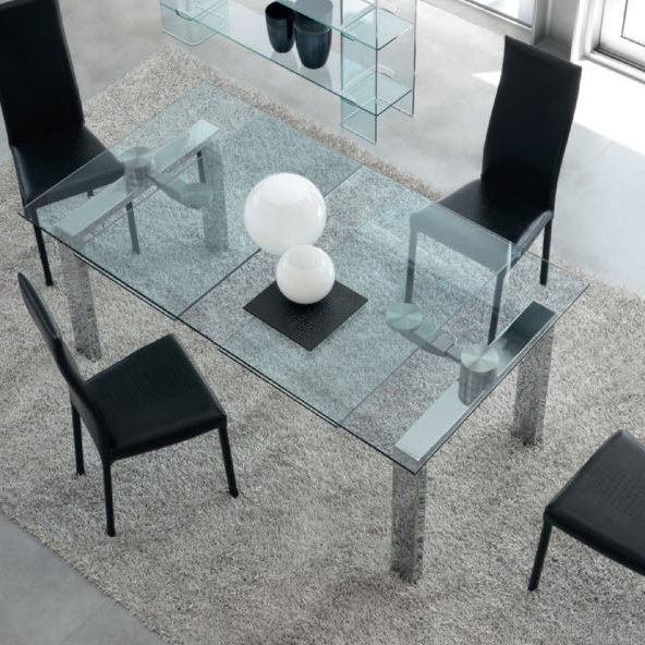Contemporary Dining Table / Tempered Glass / Chrome Steel Pertaining To Chrome Dining Tables With Tempered Glass (View 8 of 25)