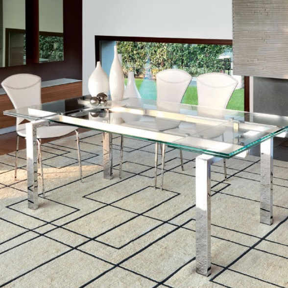 Contemporary Dining Table / Tempered Glass / Chrome Steel / Rectangular With Chrome Dining Tables With Tempered Glass (View 25 of 25)