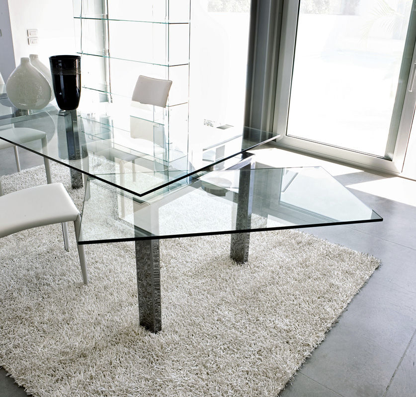 Contemporary Dining Table / Tempered Glass / Chrome Steel Within Chrome Dining Tables With Tempered Glass (View 10 of 25)