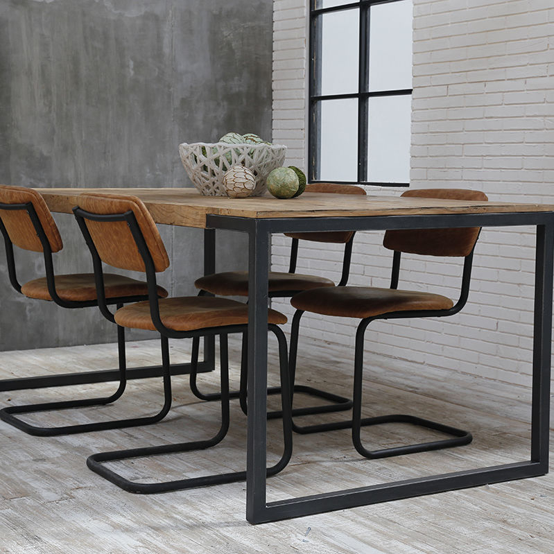 Contemporary Dining Table / Wooden / Iron Base / Rectangular Intended For Iron Wood Dining Tables (View 19 of 25)