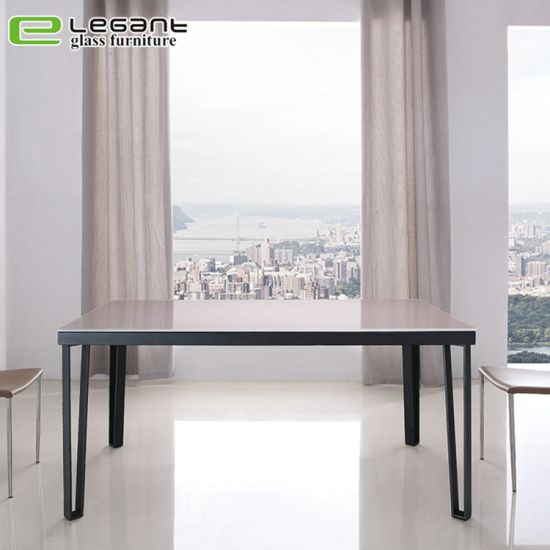 Contemporary Glass Dining Table With Black Iron Legs Regarding Dining Tables With Black U Legs (View 18 of 25)