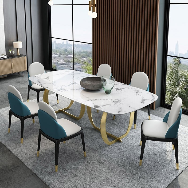 "Contemporary Luxury 63"" / 71"" Rectangular Faux Marble Dining Table Metal Base In Gold Regarding Contemporary Rectangular Dining Tables (View 8 of 25)"