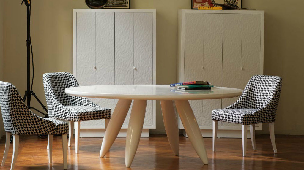 Contemporary Table / Wooden / Round – Lolloandrea Fogli Within Dom Round Dining Tables (Image 6 of 25)