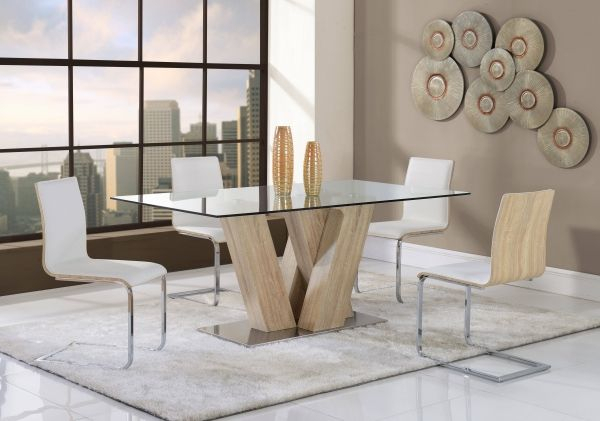 Contemporary White Mdf Rectangular Glass Top Dining Table Inside Rectangular Glass Top Dining Tables (View 17 of 25)