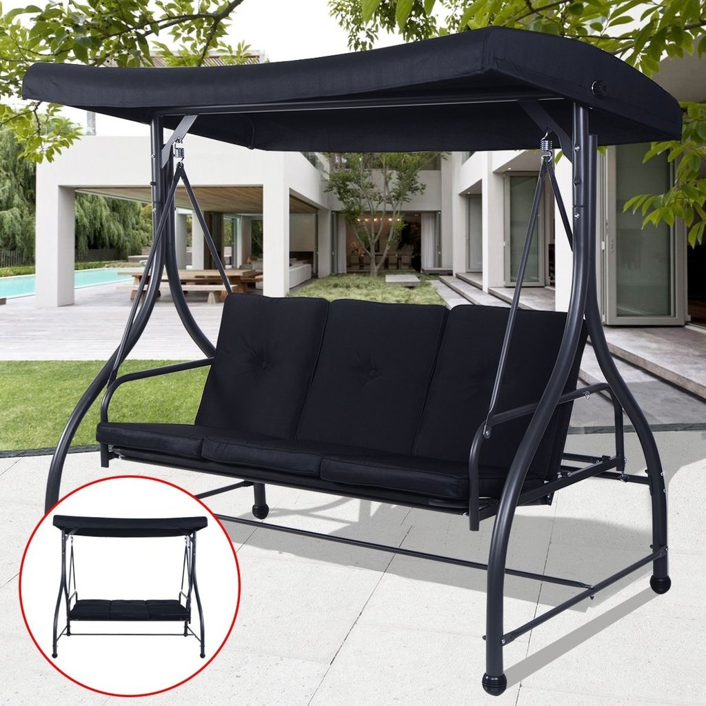 Converting Outdoor Swing Canopy Hammock 3 Seats Patio Deck Within Outdoor Pvc Coated Polyester Porch Swings With Stand (View 3 of 25)