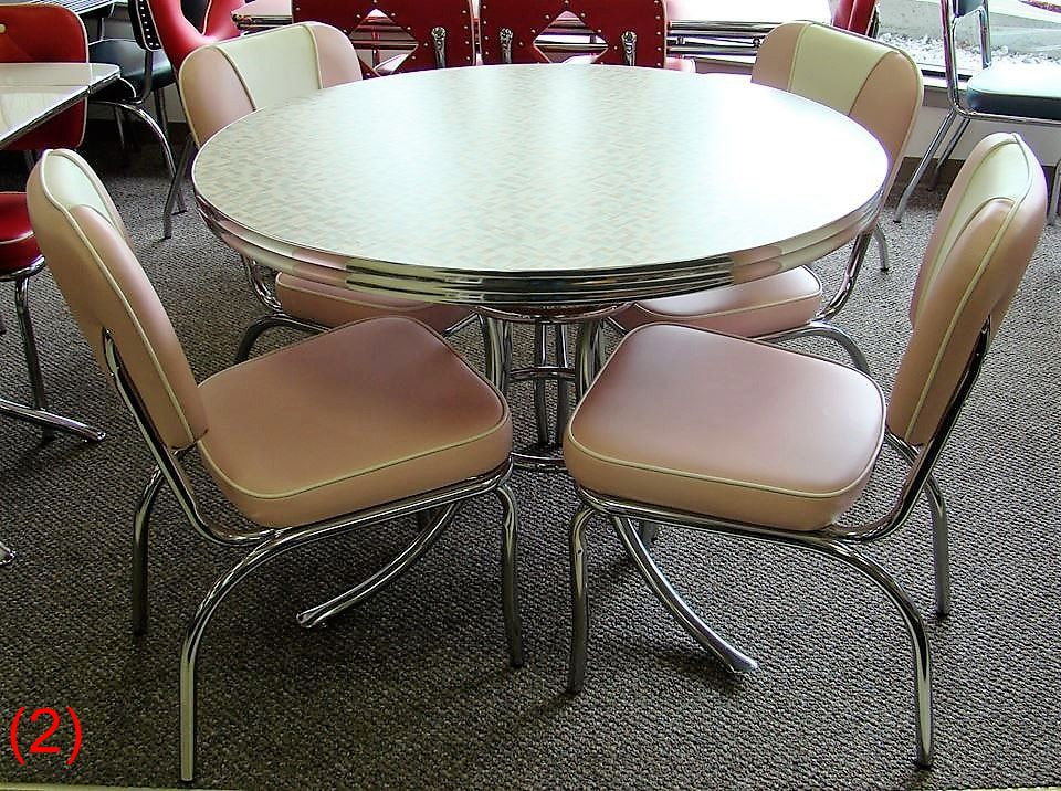 Cool Retro Dinettes | 1950's Style | Canadian Made Chrome Sets Within 4 Seater Round Wooden Dining Tables With Chrome Legs (View 12 of 25)