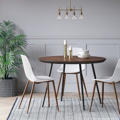 Copley Dining Table Wood Top With Metal Legs Walnut With Frosted Glass Modern Dining Tables With Grey Finish Metal Tapered Legs (View 3 of 25)