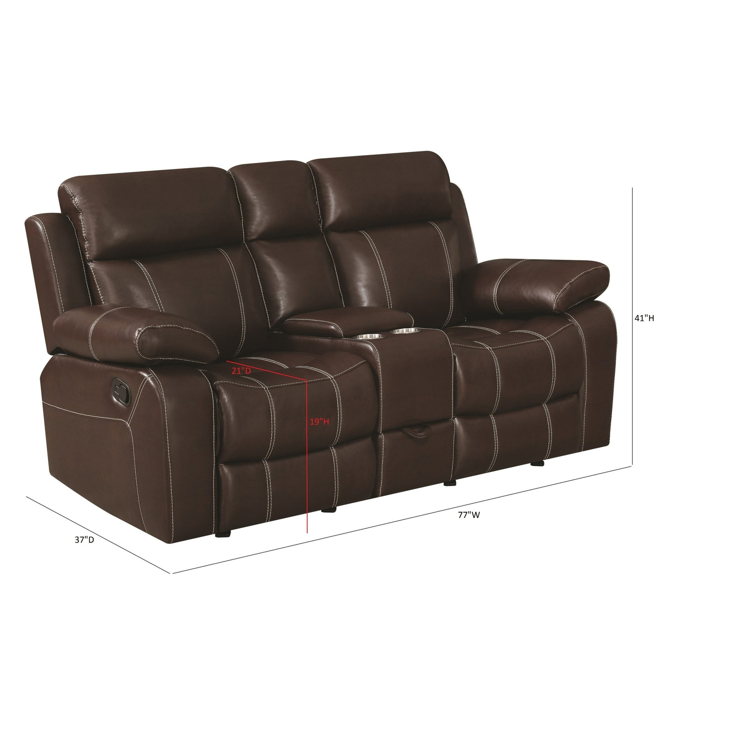 "Copper Grove Glentress Brown Double Gliding Loveseat With Console – 76"" X  37"" X 40"" In Double Glider Loveseats (Image 4 of 25)"
