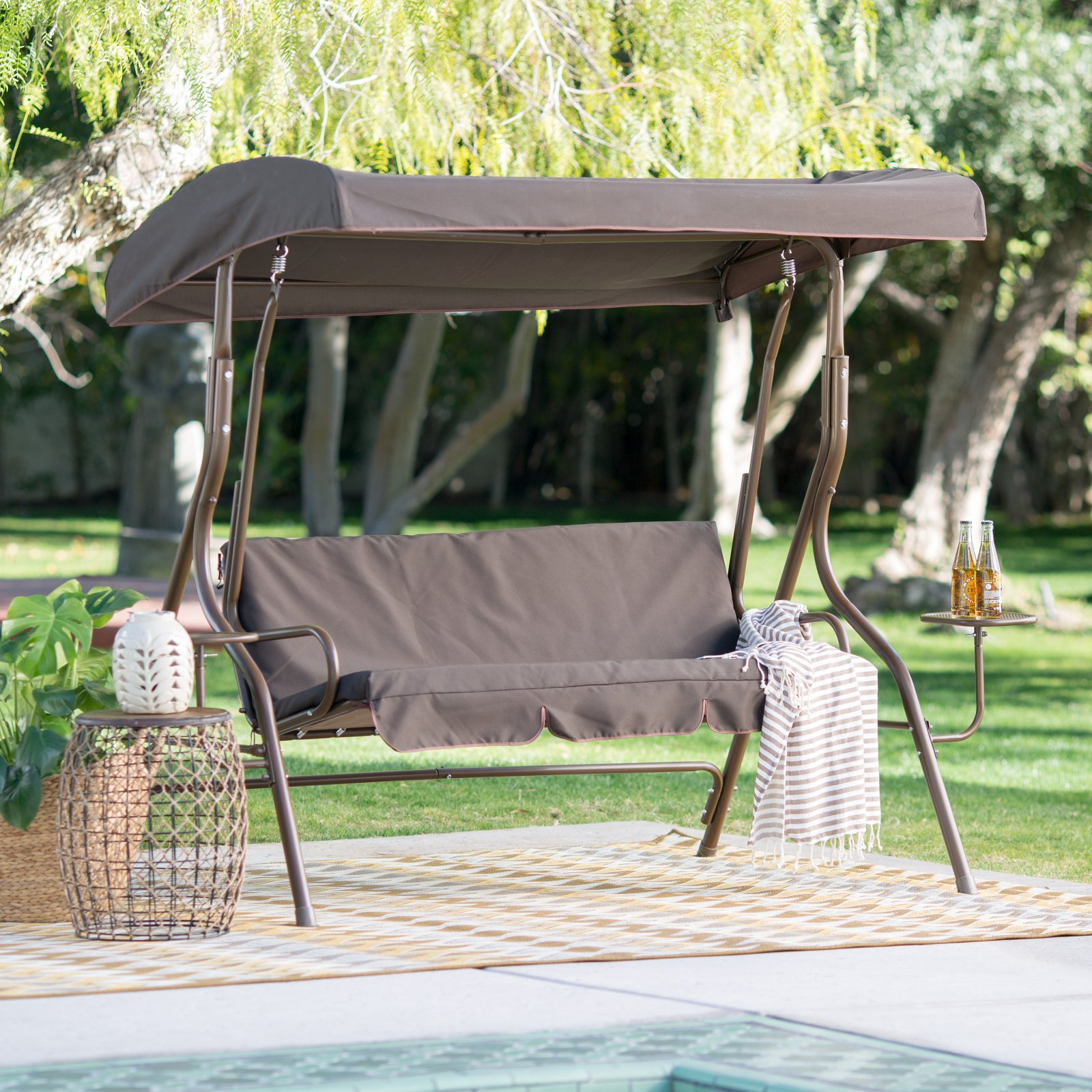 Coral Coast Lakewood 2 Person Adjustable Tilt Canopy Metal Swing With Side  Tables – Walmart Intended For 2 Person Adjustable Tilt Canopy Patio Loveseat Porch Swings (Image 11 of 25)