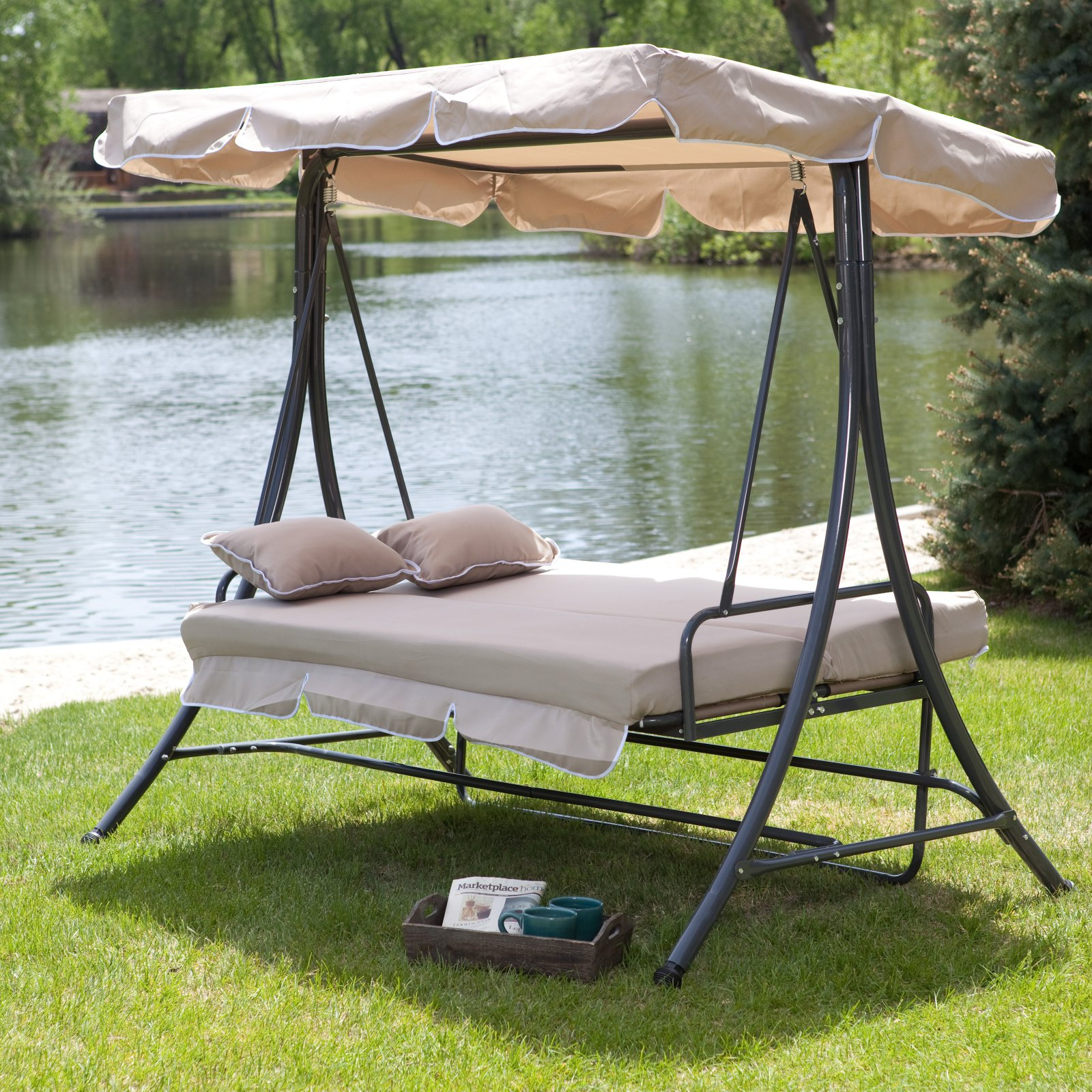 Coral Coast Lazy Caye 3 Person All Weather Swing Bed With Toss Pillows – Cappuccino – Walmart For 3 Person Outdoor Porch Swings With Stand (View 7 of 25)