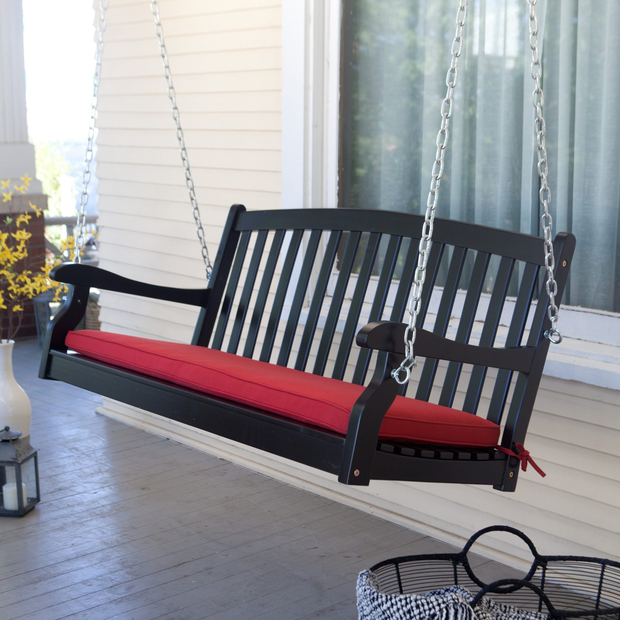 Coral Coast Pleasant Bay Black Curved Back Porch Swing With With Regard To 5 Ft Cedar Swings With Springs (View 9 of 25)