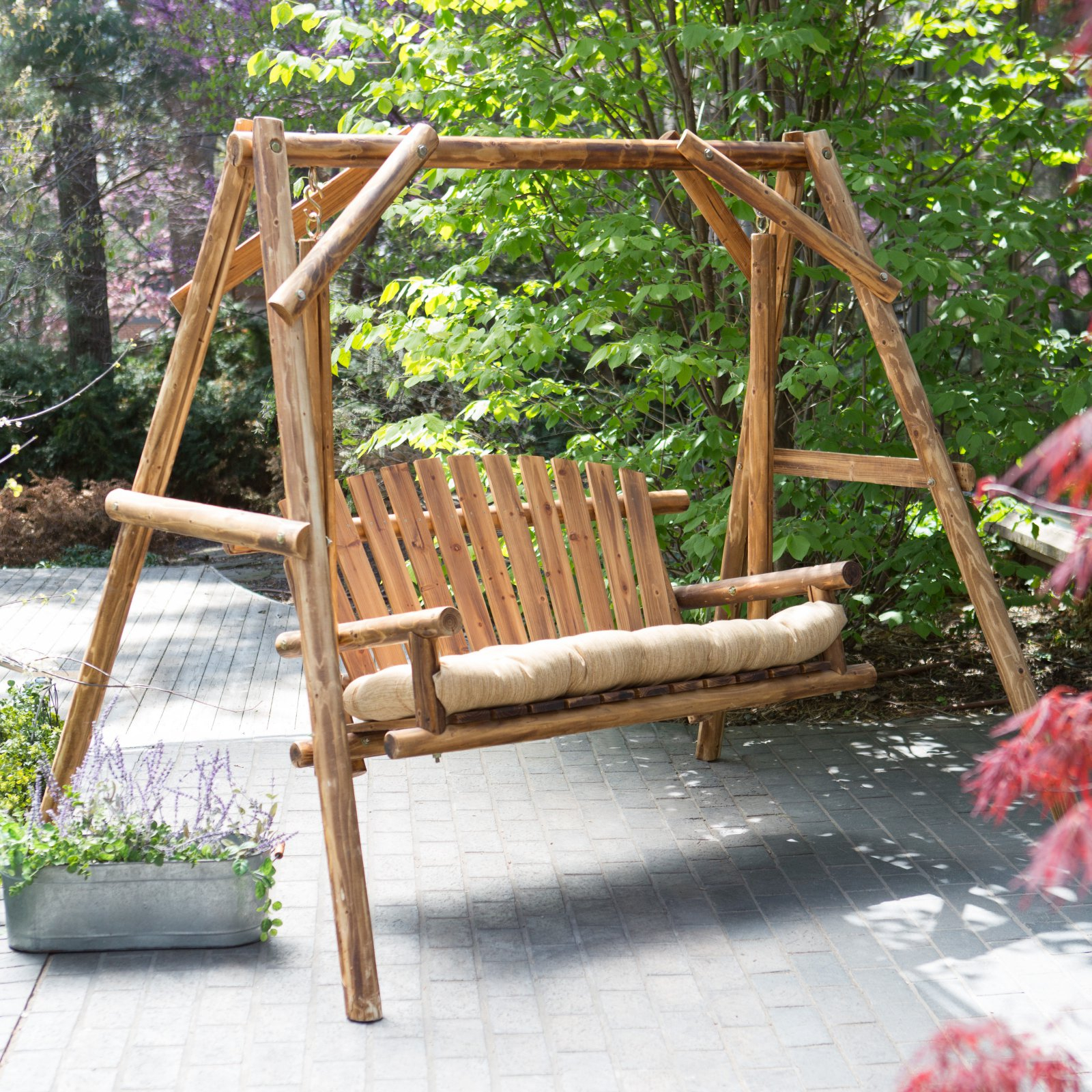 Coral Coast Rustic Oak Log Curved Back Porch Swing And A Frame Set – Walmart Pertaining To Hardwood Hanging Porch Swings With Stand (View 18 of 25)