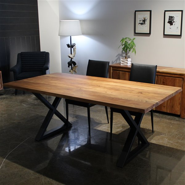 Corcoran Acacia Dining Table – 80 In – Black Metal X Legs In Acacia Dining Tables With Black X Leg (Image 10 of 25)
