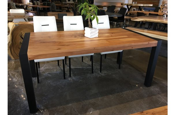 """Corcoran Acacia Dining Table With Black Legs – 70"""" 