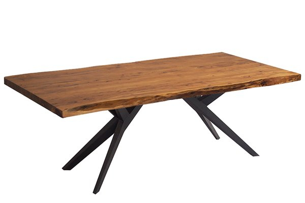 "Corcoran Acacia Live Edge Dining Table With Black Airloft Legs – 84"" Inside Acacia Dining Tables With Black Victor Legs (Image 6 of 25)"