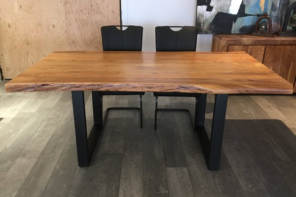 Corcoran Acacia Live Edge Dining Table With Black U Legs For Acacia Dining Tables With Black Rocket Legs (Image 8 of 25)