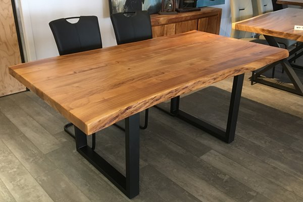 Corcoran Acacia Live Edge Dining Table With Black U Legs In Acacia Dining Tables With Black Rocket Legs (Image 9 of 25)
