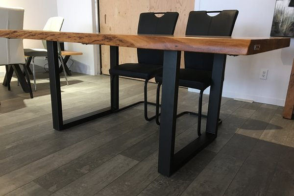 Corcoran Acacia Live Edge Dining Table With Black U Legs Intended For Acacia Dining Tables With Black Rocket Legs (Image 10 of 25)
