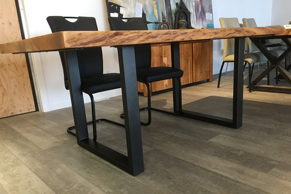 Corcoran Acacia Live Edge Dining Table With Black U Legs With Acacia Dining Tables With Black Rocket Legs (Image 11 of 25)