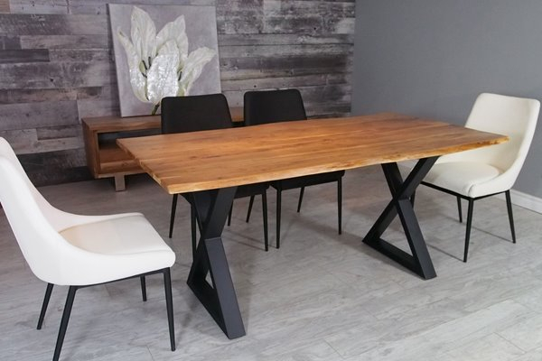 Corcoran Acacia Live Edge Dining Table With Black X Legs In Acacia Dining Tables With Black Victor Legs (Image 8 of 25)