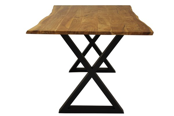 Corcoran Acacia Live Edge Dining Table With Black X Legs Inside Acacia Dining Tables With Black X Legs (View 11 of 25)