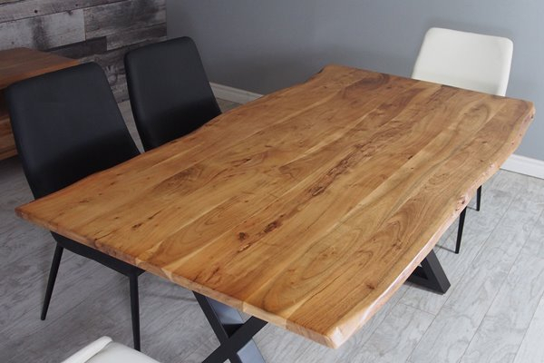 Corcoran Acacia Live Edge Dining Table With Black X Legs Intended For Acacia Dining Tables With Black X Legs (View 7 of 25)