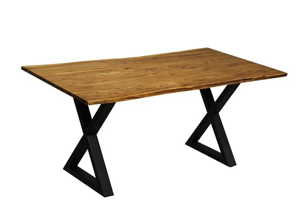 Corcoran Acacia Live Edge Dining Table With Black X Legs Pertaining To Acacia Dining Tables With Black Legs (View 21 of 25)