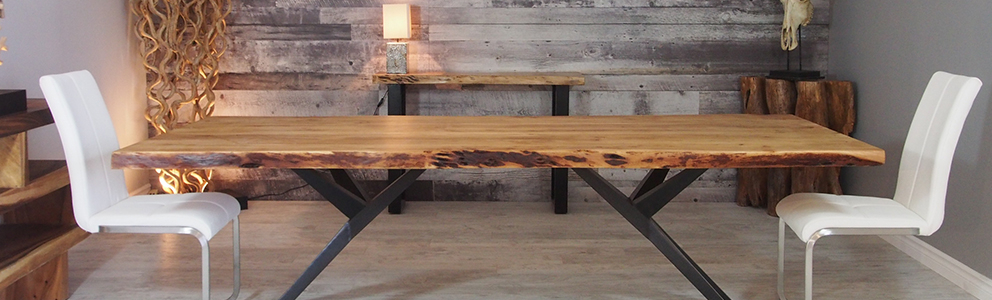 Corcoran Importation Within Acacia Dining Tables With Black X Leg (Image 11 of 25)