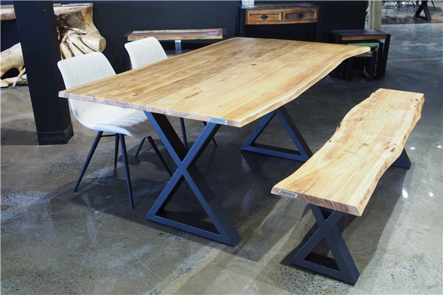 Corcoran Importation Zen Live Edge 67 Inches Dining Table In Acacia Dining Tables With Black X Legs (View 15 of 25)