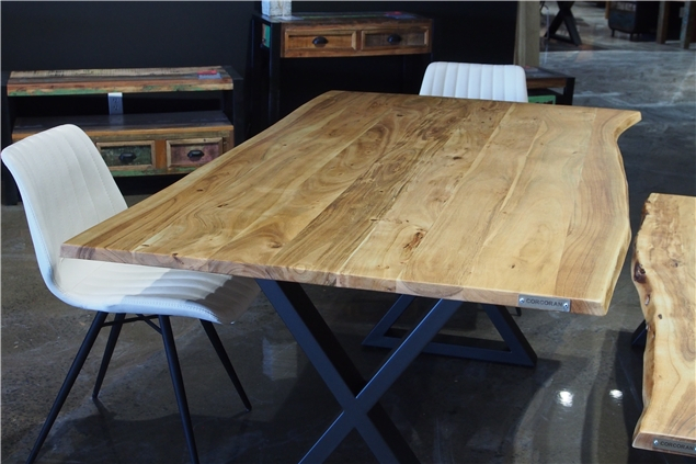 Corcoran Importation Zen Live Edge 67 Inches Dining Table Intended For Acacia Dining Tables With Black X Leg (Image 12 of 25)