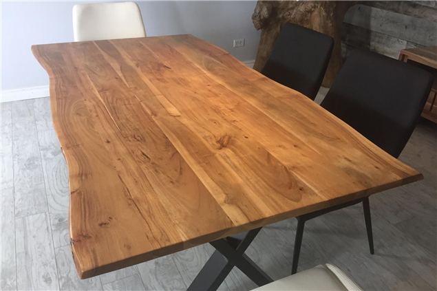 Corcoran Importation Zen Live Edge 67 Inches Dining Table With Regard To Acacia Dining Tables With Black X Leg (Image 14 of 25)