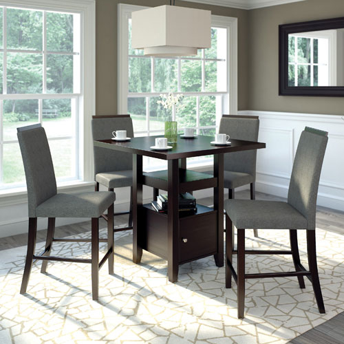 Corliving 5 Piece Rubberwood Bistro Dining Set – Cappuccino/pewter Grey Pertaining To Bistro Transitional 4 Seating Square Dining Tables (View 11 of 25)