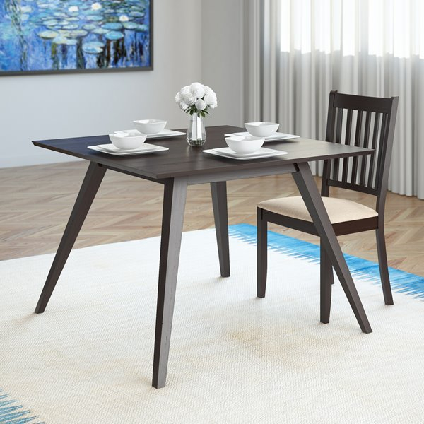 Corliving Atwood 42 In X 42 In Cappuccino Stained Square Dining Table In Atwood Transitional Square Dining Tables (View 5 of 25)