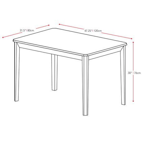 """Corliving Atwood 47"""" X 32"""" Cappuccino Stained Dining Table Intended For Atwood Transitional Rectangular Dining Tables (View 10 of 25)"""