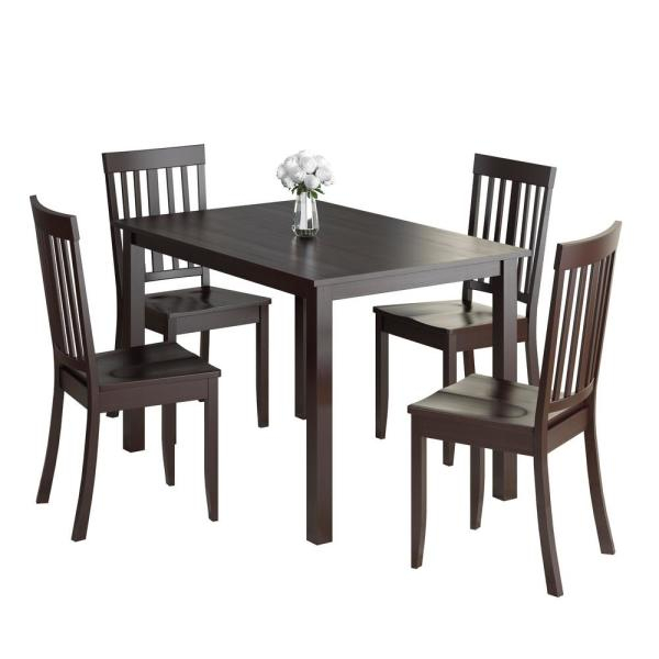 Corliving Atwood 5 Piece Cappuccino Stained Dining Set Drg For Atwood Transitional Square Dining Tables (View 6 of 25)