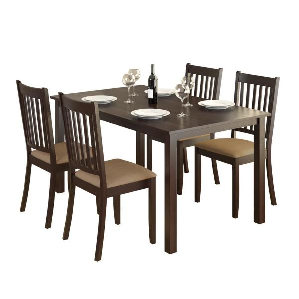 Corliving Atwood 5 Piece Dining Set With Beige Microfiber With Atwood Transitional Rectangular Dining Tables (View 8 of 25)