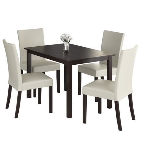 Corliving Atwood 5 Piece Dining Set With Cream Leatherette Throughout Atwood Transitional Rectangular Dining Tables (View 6 of 25)