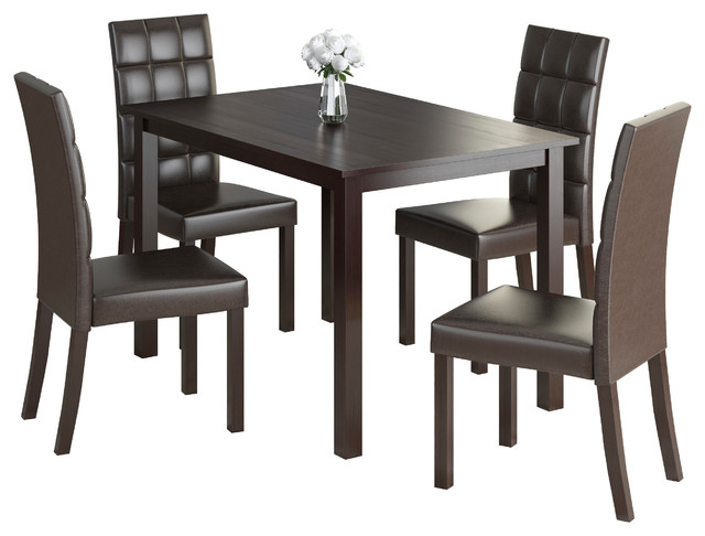 Corliving Atwood 5 Piece Dining Set With Dark Brown Leatherette Seats With Atwood Transitional Square Dining Tables (View 11 of 25)