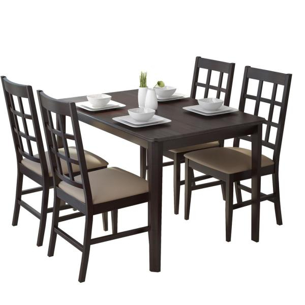 Corliving Atwood 5 Piece Dining Set With Taupe Stone Within Atwood Transitional Square Dining Tables (View 7 of 25)