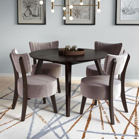 Corliving Atwood 5Pc Cappuccino Dining Set With Grey Velvet With Regard To Atwood Transitional Rectangular Dining Tables (View 18 of 25)