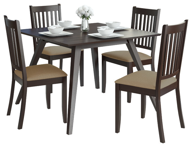 Corliving Drg 895 Z3 Atwood 5Pc Dining Set With Microfiber Seats Pertaining To Atwood Transitional Rectangular Dining Tables (View 16 of 25)